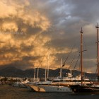Clouds gather over Athens and Alimos marina