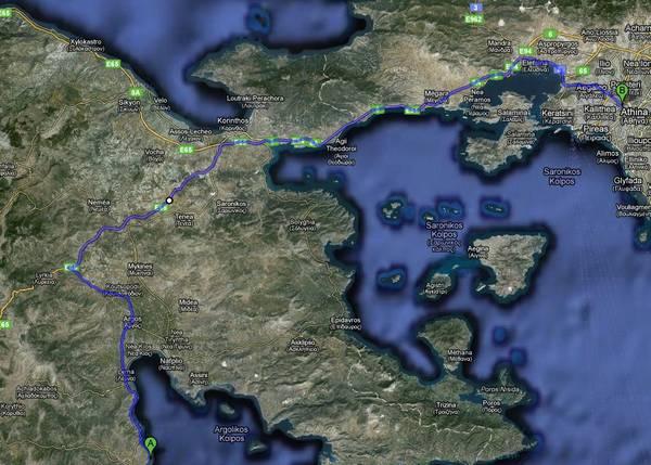 Η διαδρομή από την Αθήνα στο Άστρος Κυνουρίας