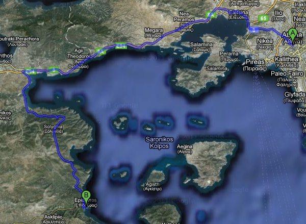 Route from Athens to Epidavros