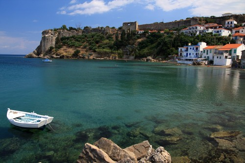 Koroni and medieval castle view