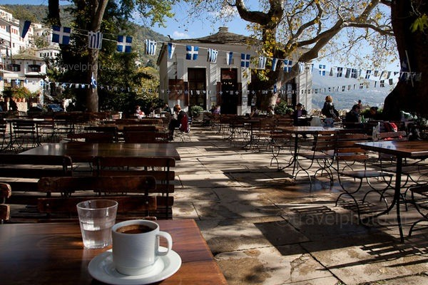 In Makrinitsa square with Greek coffee