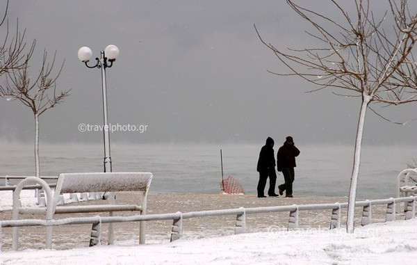 Snow in Athens beach