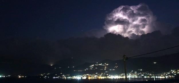 Summer thunderstorm over south Evia island
